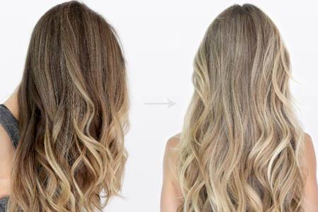 До и после осветления волос и смывки краски
