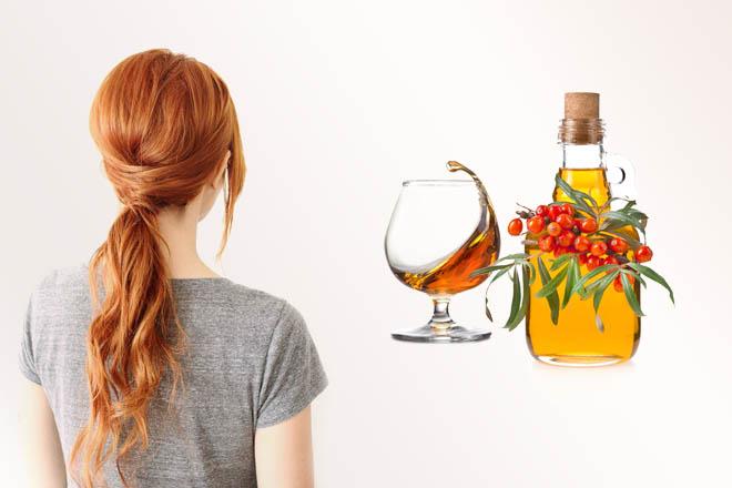 Облепиховое масло и коньяк для сухих волос